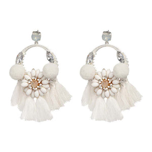 Finian Crystal Pure White Tassel Earrings - Ferosh