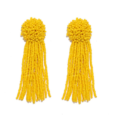 Royally Beaded Yellow Drop Tassel Earrings - Ferosh
