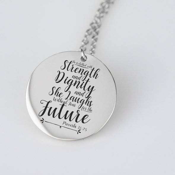 She is Clothed with Strength and Dignity  Pendant and chain set