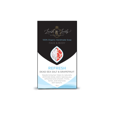 Dead Sea Salt & Grapefruit - 100% Organic Natural Handmade Soap - Face/Body - 4oz - Refresh - Lavish & Lovely