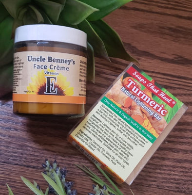 Uncle Benny's Vitamin E Face Creme | Turmeric Natural Lightening Bar  Combo - Lavish & Lovely