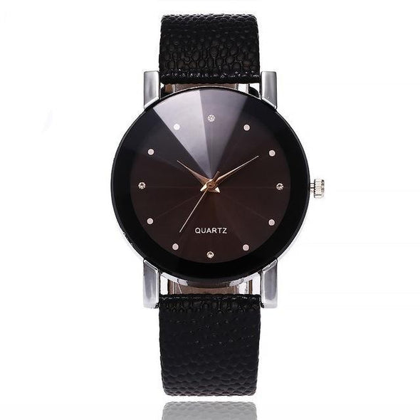 Quartz Leather Strap Woman's Wrist Watch - Lavish & Lovely