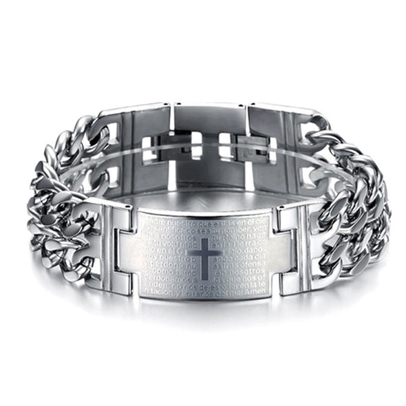 Bold Cross Stainless Steel Men's Bracelet - Lavish & Lovely