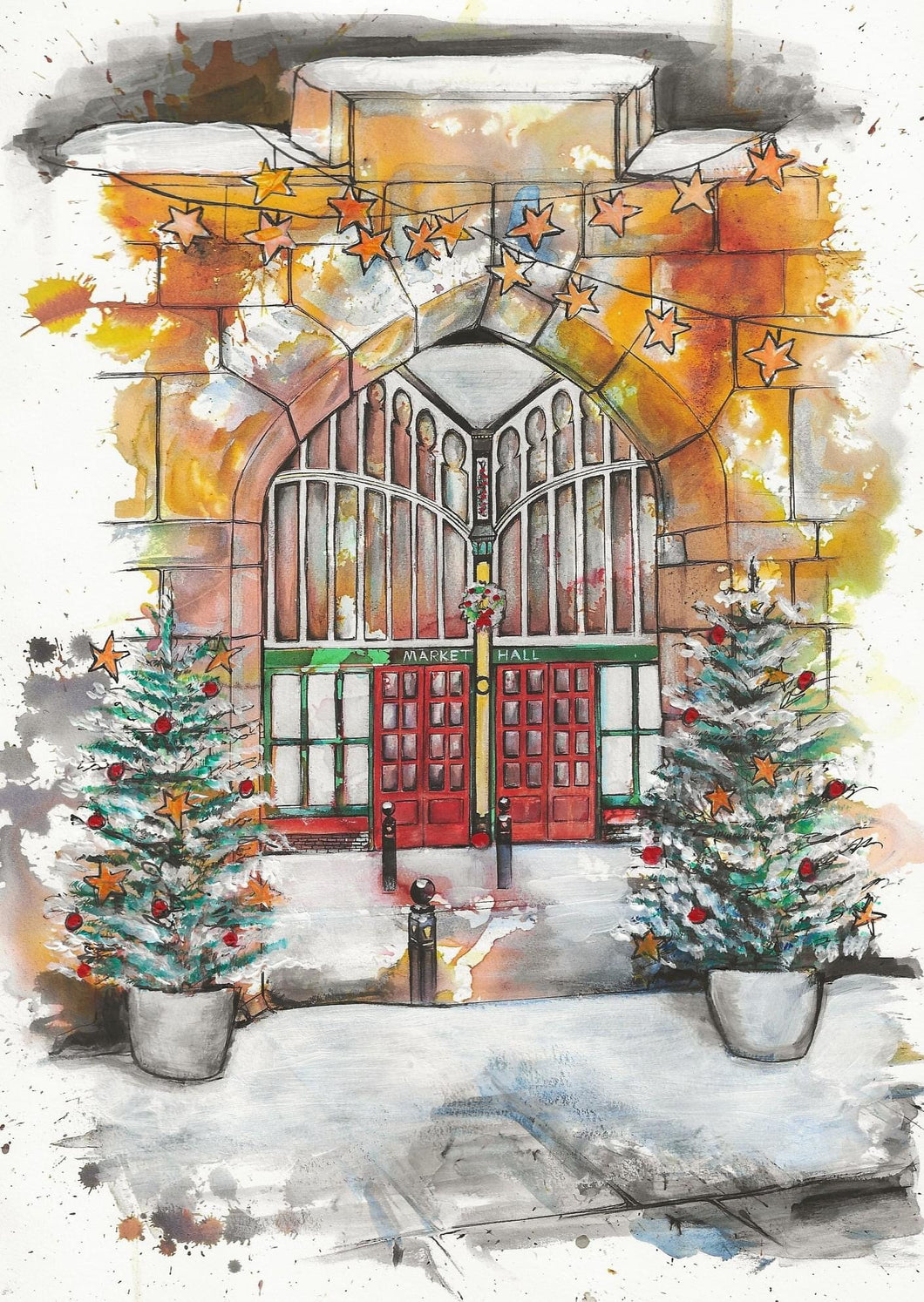 Stockport Market Hall seen form St.Marys Church Christmas Card
