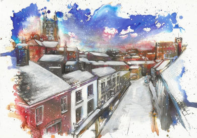 Rooftops over Stockport Underbank Christmas Card