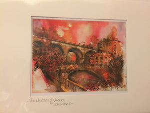 Stockport Viaduct and River Mersey Greetings Card