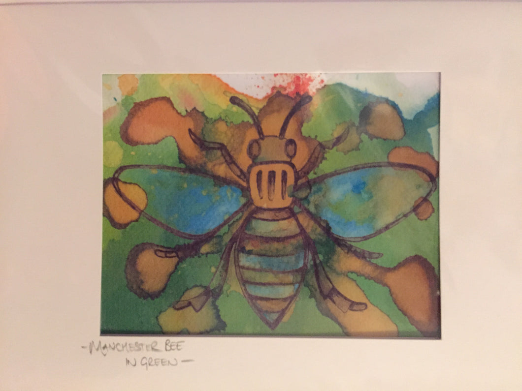 Manchester Worker bee in Green Greetings Card