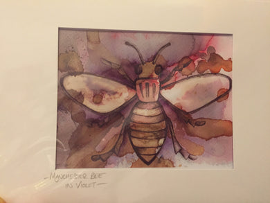 Manchester Worker bee in Violet Greetings Card