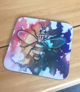 Rainbow Worker Bee coaster