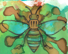 Worker Bee A5 print (framed)