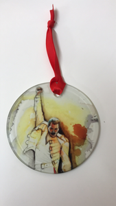 Freddie Mercury glass ornament