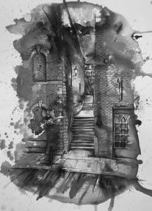 Turner's Steps, Stockport in Monochrome art print