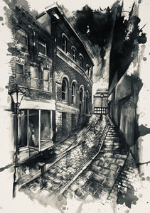 The Market Brow, Stockport in Monochrome Art Print