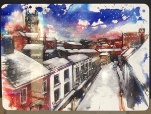 Stockport Underbank Snow Covered Rooftops Christmas Placemat