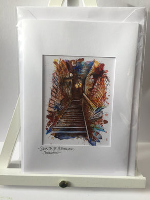 Steps to St Petersgate, Stockport Greetings Card