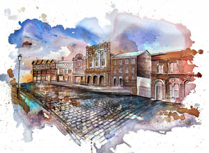 Stockport Market Place, Produce Hall Art Print