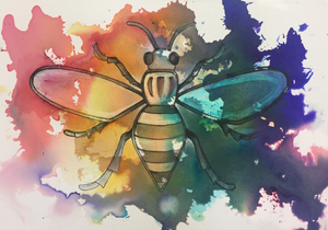Rainbow Worker Bee Art Print