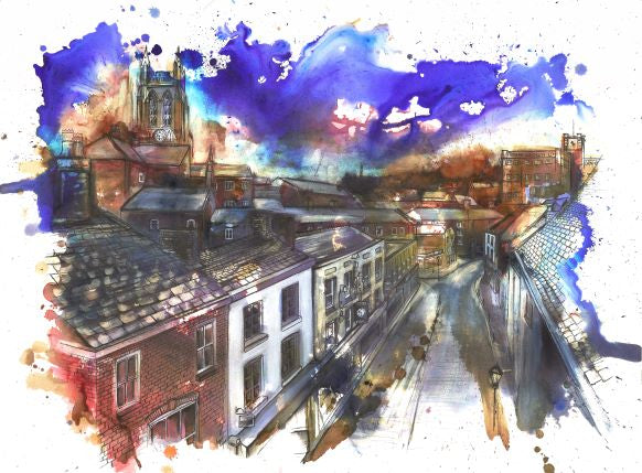 View from St Petersgate Bridge, Stockport Art Print