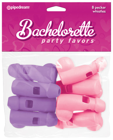 Pecker Whistles, Pink & Purple, Pack of 8