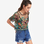 Botanical Mesh Top