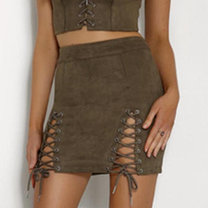 Lace Up Suede Skirt