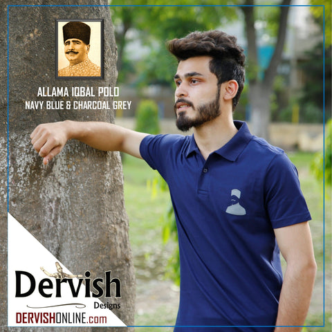 Iqbal Silhouette Polo Shirt Navy Blue - Dervish Designs Online