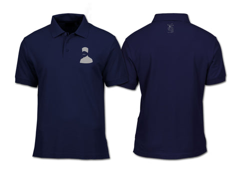 Iqbal Silhouette Polo Shirt Navy Blue Shirts DervishDesigns