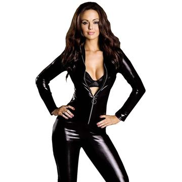 Show your confidence - black PVC tight bodysuit