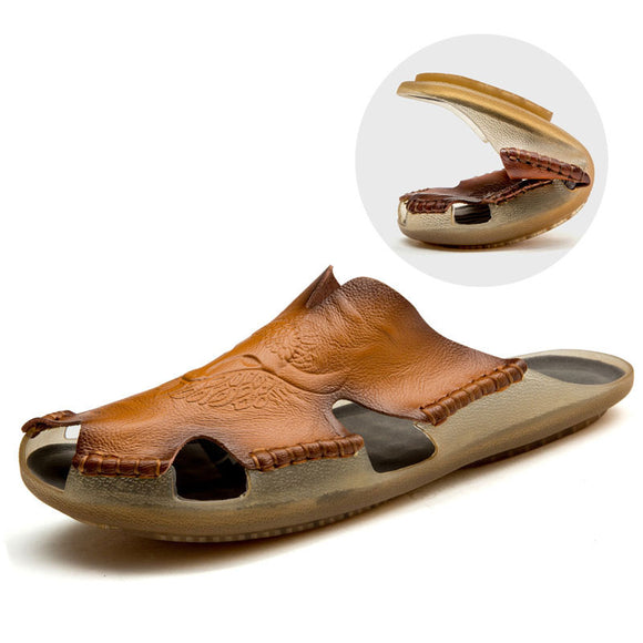Breathable Men's Soft Leather Sandals