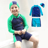 Boy's Two-Piece Long-Sleeved Swimsuit with Cap