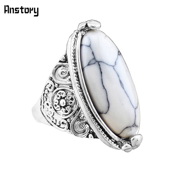 Flower Band Oval Natural Stone Ring