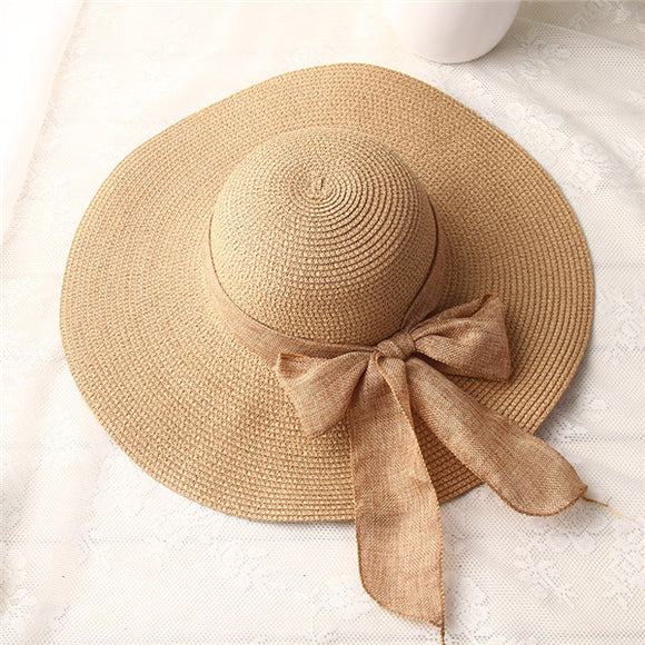 Hand-Made Bow-knot Ribbon Wide-Brim Beach Hat