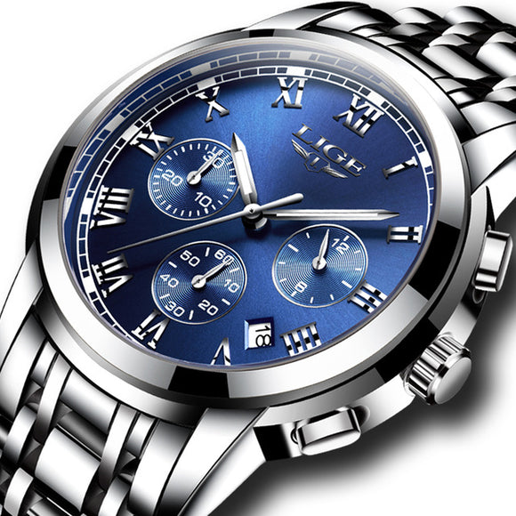 LIGE Full-Steel Waterproof Quartz Watch