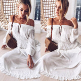 Spring and Summer Crochet Lace Long-sleeved Off-the-shoulder Dress