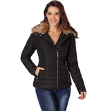 Faux Fur Collar-zip-up Quilted Jacket
