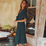 Casual Short-sleeved V-neck Boho Dress