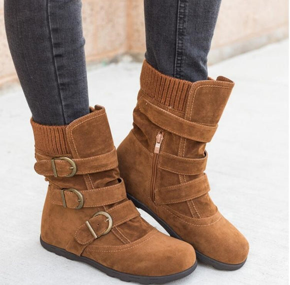 Buckled-Calf Flat-heel Zipper Boots