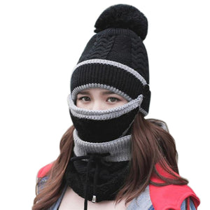 3PCS Womens Winter Knitted Scarf Cap