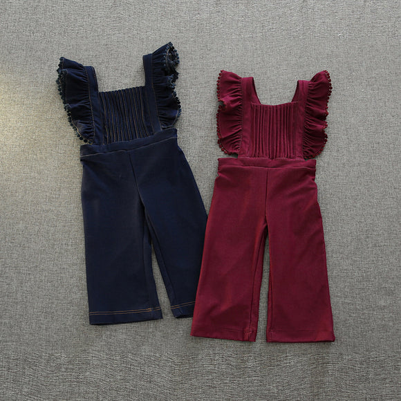 Girl's Cute Ruffle Denim Overalls