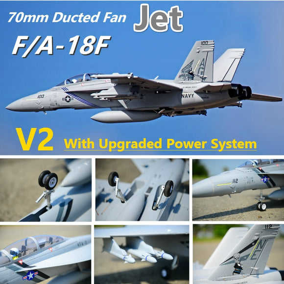 FMS RC Airplane  F/A-18F F18 Super Hornet V2 70mm Ducted Fan 6CH with Retractable  Flaps