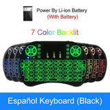 Backlit i8 Mini Air Mouse 2.4G Wireless Keyboard with Touchpad English Russian Spanish French