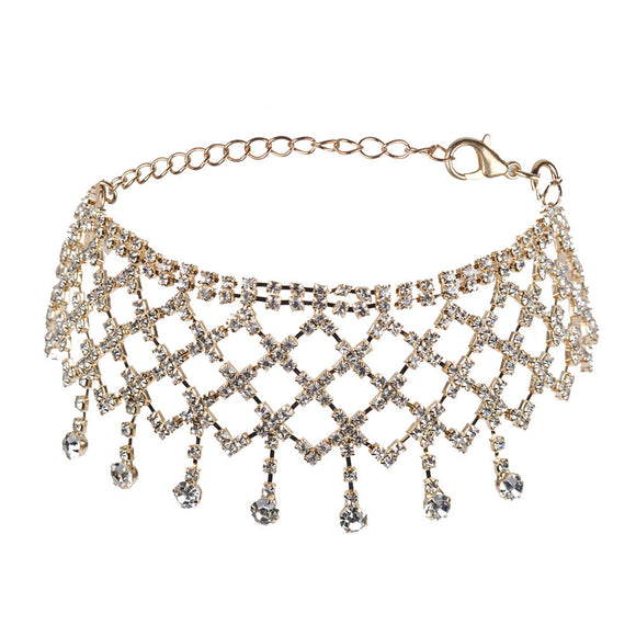 Women Punk Style Alloy Crystal Rhinestone Golden Chain Necklace Choker