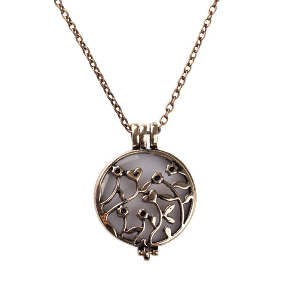 Noctilucent Cabochon Glass Art Flower Vine Pendant Necklace Chain
