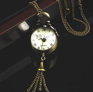 Vintage Bronze Quartz Ball Glass Pocket Watch Necklace