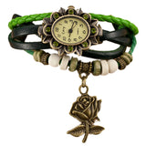 Quartz Weave Around Leather Rose Bracelet Lady Woman Wrist Watch