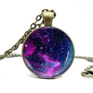 Women Fantasy Nebula Image Design Antique Bronze Long Chain Necklace