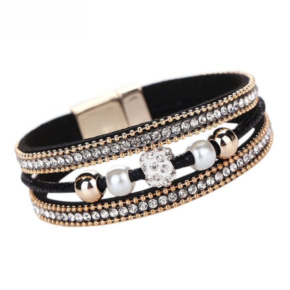 Multilayer Bangle Bracelet Crystal Beaded Leather Magnetic Wristband