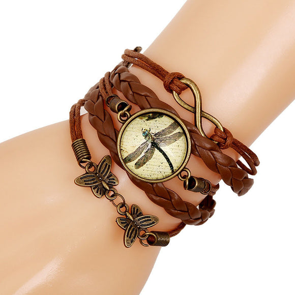 Women Men Butterfly Dragonfly  Leather Chain Charms Bracelet Jewelry Gift