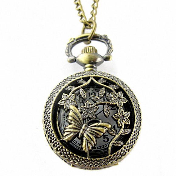 Retro Bronzetterfly and Flower Openwork Cover Pocket Quartz Watch