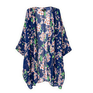 Floral Print Long Loose Knitted Cardigan Shawl